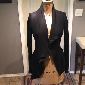 Sweaters - Black fleece lined asymmetric zip sweater - medium